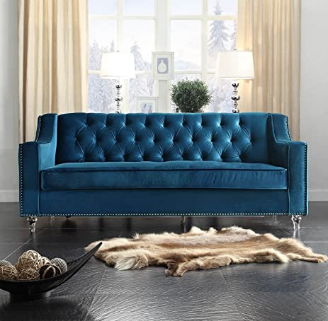 Captivating Iconic Home Dylan Modern Tufted Navy Blue Velvet Sofa With Silver Nail Head  Trim U0026 Round