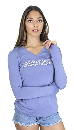 cc391d92a404 Harley-Davidson Womens All Polished Synthetic V-Neck Purple Long Sleeve (X-