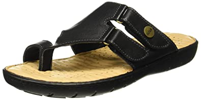 3e8ed71c9a22 Scholl Men s Tim Toe Ring Black Leather Flip Flops Thong Sandals-7 UK India