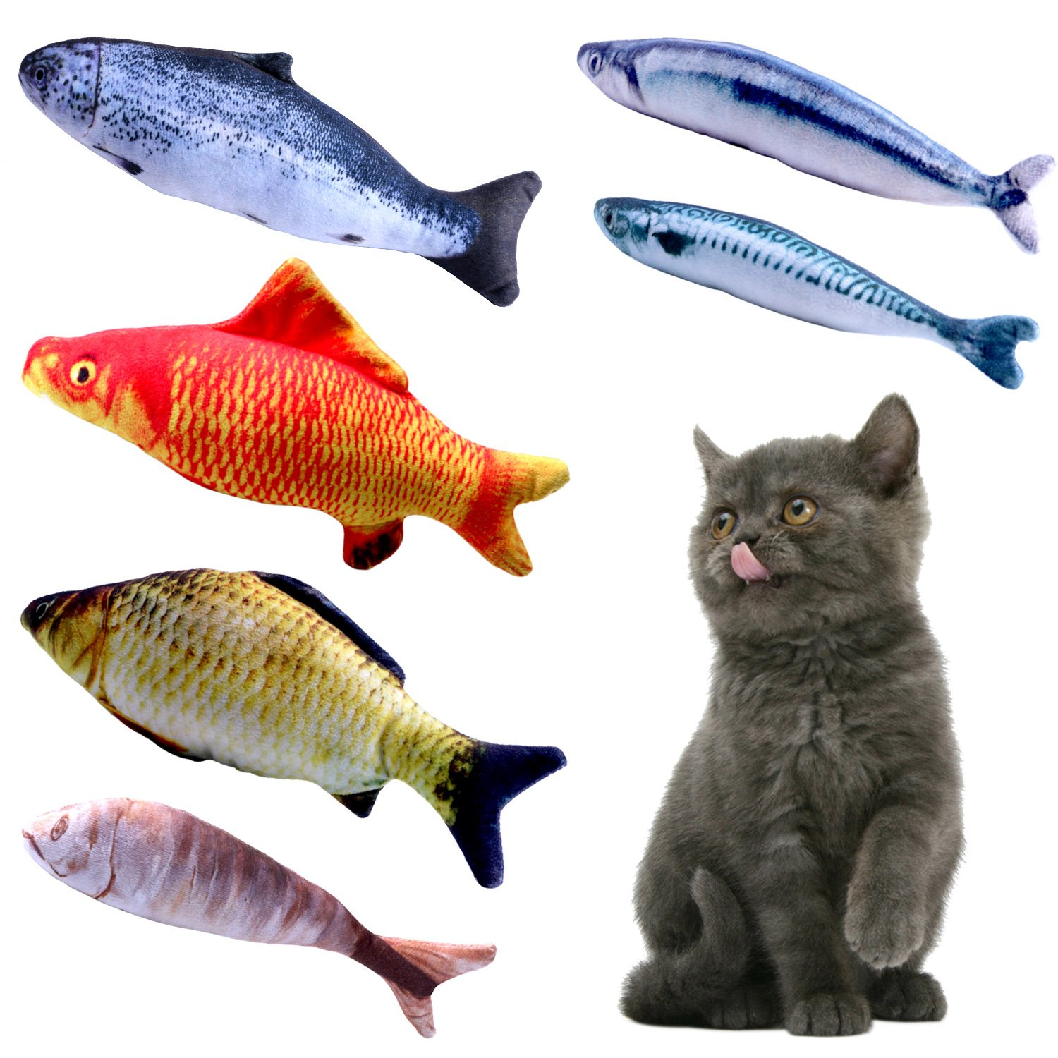 Catnip Toys, Pet Toys for Cats, Cat Toy, Peroom 3 pcs Simulation Fish Plush Cat Interactive Toy Pillow Chew Bite Kick Supplies for Cat Pets