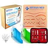 Complete Suture Practice Kit for Suture Training, Including Large Silicone Suture Pad with pre-Cut Wounds and Suture Tool kit (25 Pieces). 2nd Generation Model. (Demonstration and Education Use Only)