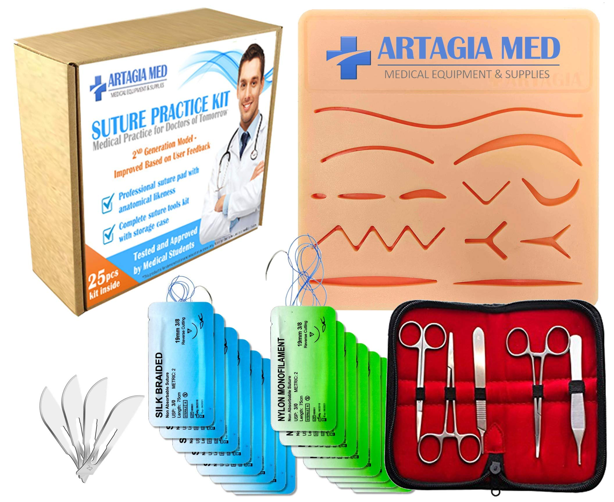 Complete Suture Practice Kit for Suture Training, Including Large Silicone Suture Pad with pre-Cut Wounds and Suture Tool kit (25 Pieces) by ARTAGIA. 2nd Generation Model. (Education Use Only) by ARTAGIA