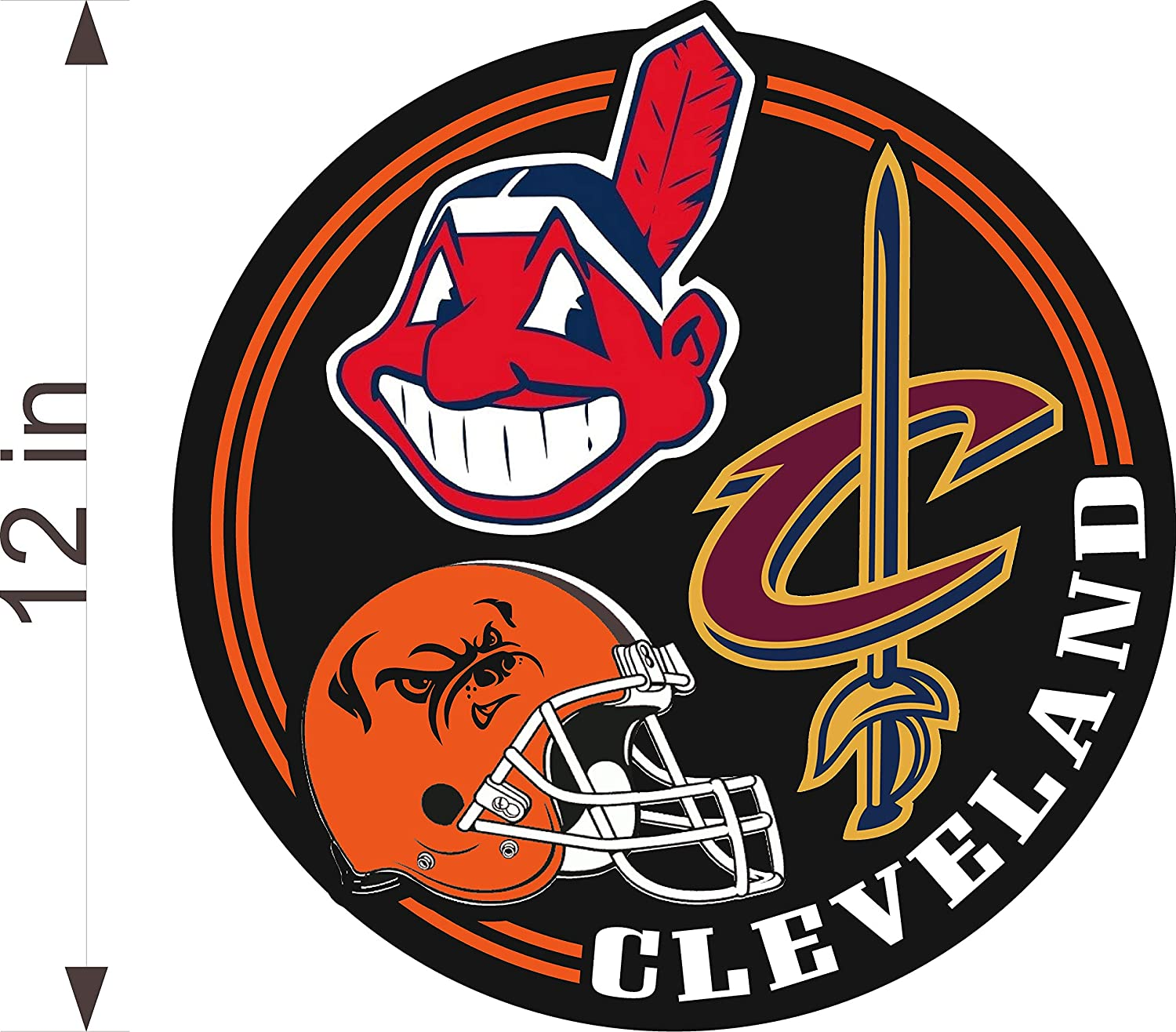 """INDIANS CLEVELAND Sports Fan CAVALIERS Sticker BROWNS 12/"""" Vinyl DECAL"""