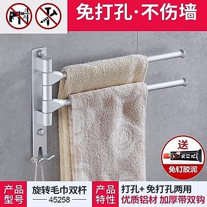 El cuarto de baño no necesita toallas perforado, varillas, espacio giratorio de aluminio toallas