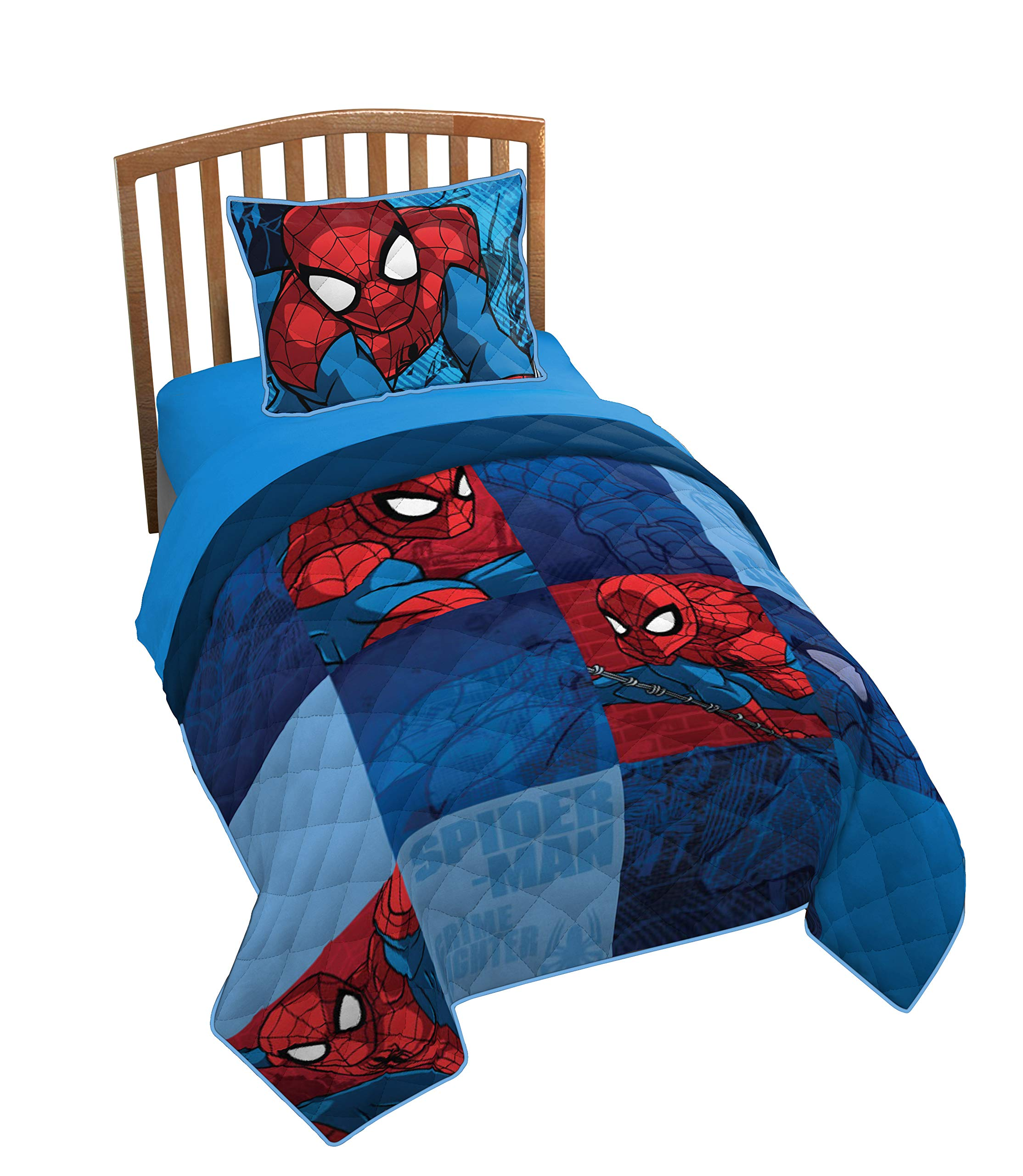 Jay Franco Marvel Spiderman Burst Twin/Full Quilt & Sham Set - Super Soft Kids Bedding Features Spiderman - Fade Resistant Polyester (Official Marvel Product) by Jay Franco