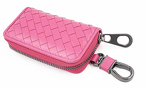 pink Tarhoo Car Key Case Genuine Leather Zipper Key Wallet with 6 Hooks in Gift Box for Holiday Gifts