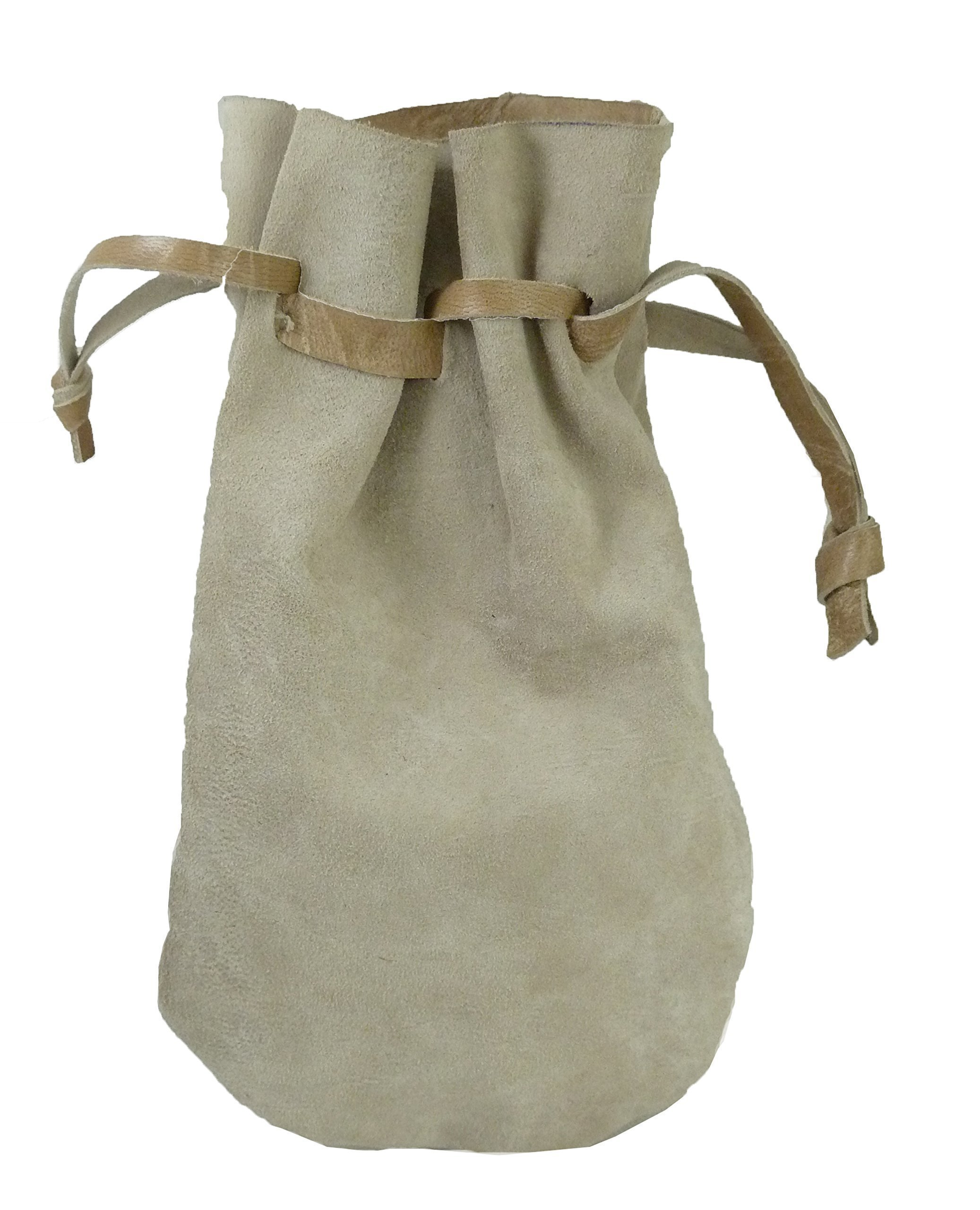 Pouch Drawstring Suede Leather 5 X 5.5 Inches, Natural