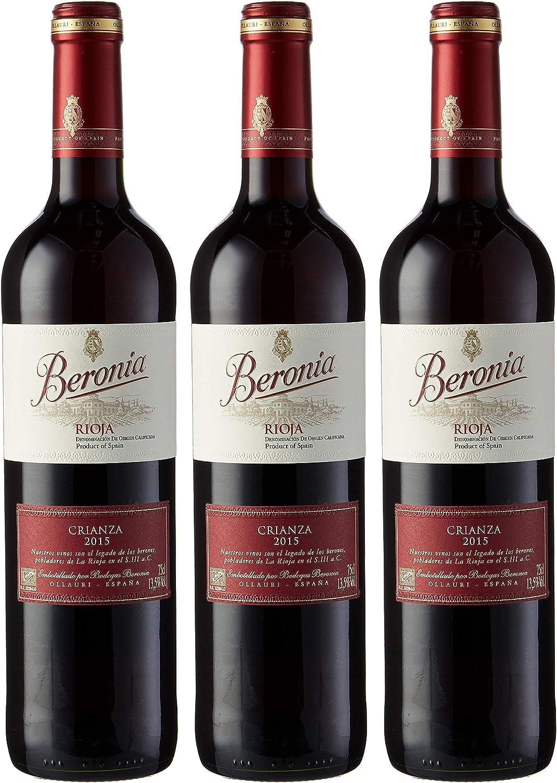 Beronia Crianza Vino Tinto - 3 botellas x 750 ml - Total: 2250ml: Amazon.es: Alimentación y bebidas