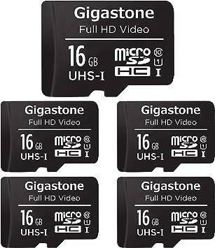 Gigastone Pack 5 Unidades Targeta de Memoria microSDHC de 16GB con ...