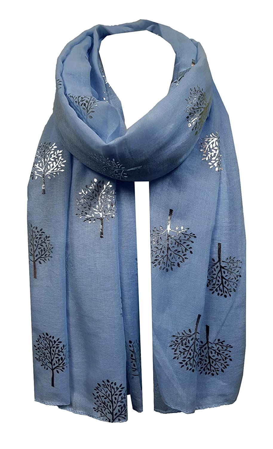 e4bbfd28d World of Shawls Silver Foil Mulberry Tree Print Fashion Scarf (Baby Blue):  Amazon.co.uk: Clothing