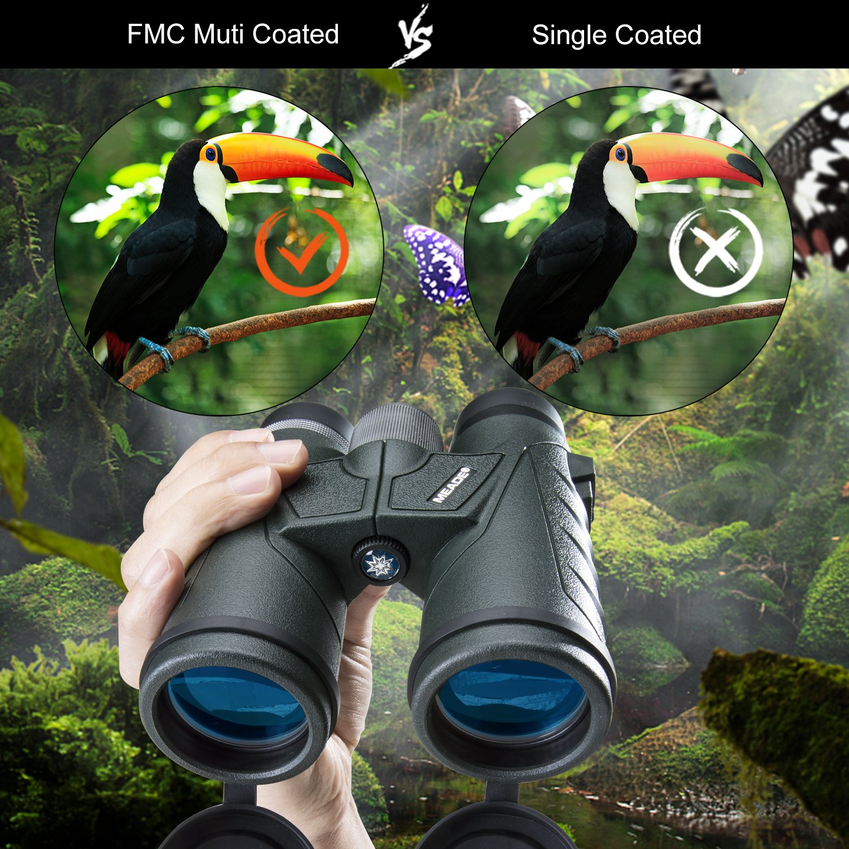 Conciertos Army Green con Una Ultra Amplia y Clara Visi/ón de Campo para La Caza Adulta Observaci/ón De Aves MEADE/® Prism/áticos Compactos 10x42 Viajes