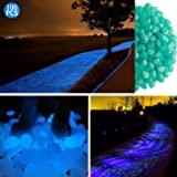 100 pcs Glow in the Dark Garden Pebbles Glowing Stones for Walkway Yard and Decor (blue)