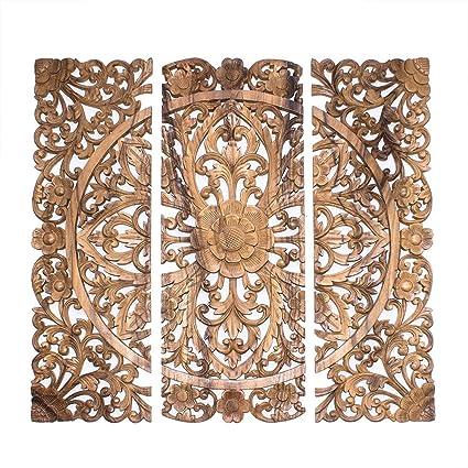 Amazon.com: Balinese Headboard. 3 Wood decorative wall panels hand ...