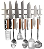 Magnetic Knife Holder From Cook-a-Lot - Includes Multiple Hooks for Added Storage. Easy to Install Tool Rack for Metal Knives, Utensils and Kitchen Sets. Strong and Reliable. Save Kitchen Space Now