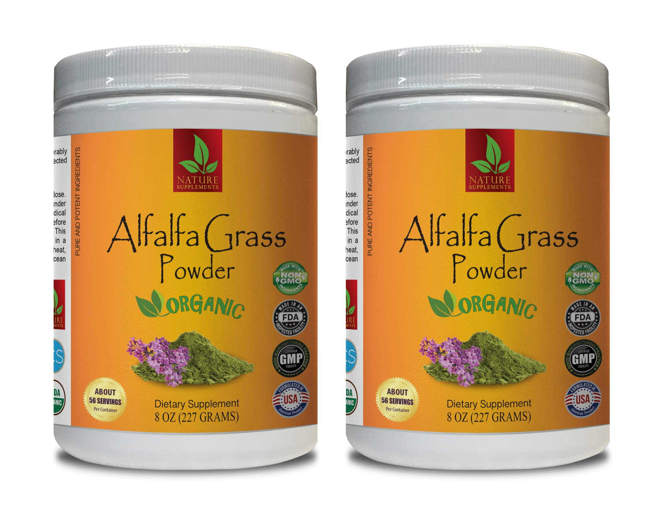 Immune System Booster Pills - Alfalfa Organic Grass Powder - Pure and Potent Ingredients - Alfalfa Leaf Organic - 2 Cans 16 OZ (112 Servings)