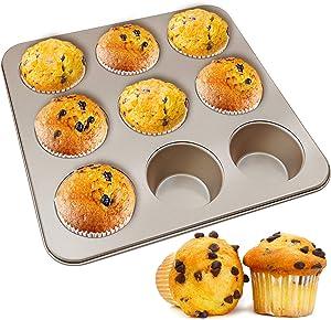 MyLifeUNIT Muffin Pan, Nonstick Cupcake Pan for Baking, 9-Cavity