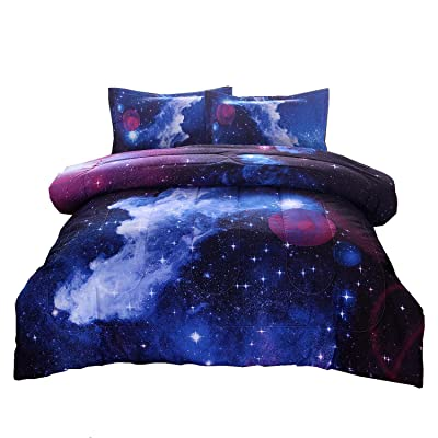 A Nice Night Galaxy Bedding Sets Outer Space Comforter 3D Printed Space Quilt Set Full Size: Home & Kitchen