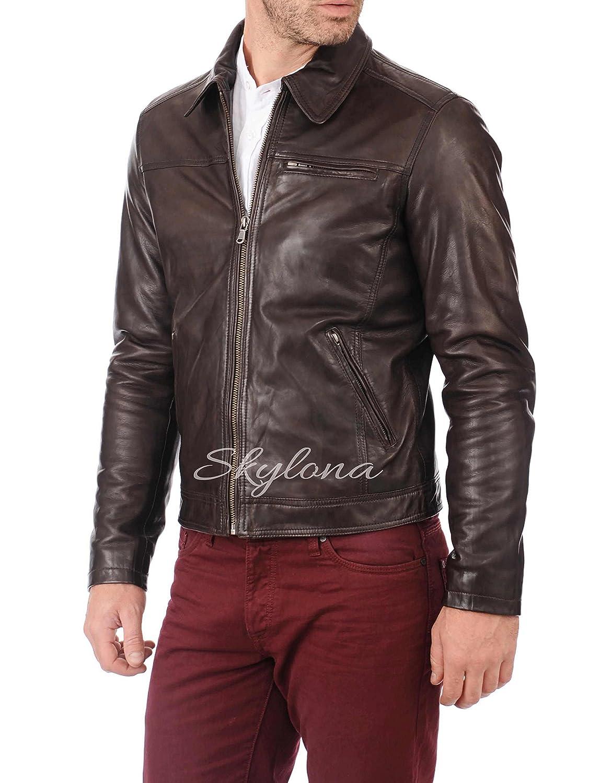 Mens Genuine Lambskin Leather Jacket Slim Fit Moto Biker Jacket T319