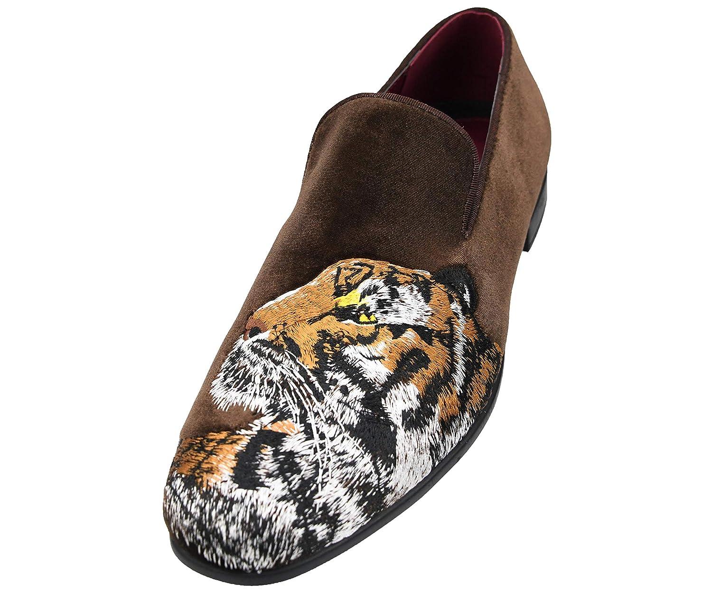 The Original Amali Men's Velvet Smoking Slipper with Lavish Embroidery  Loafer Dress Shoe, Style Tiger