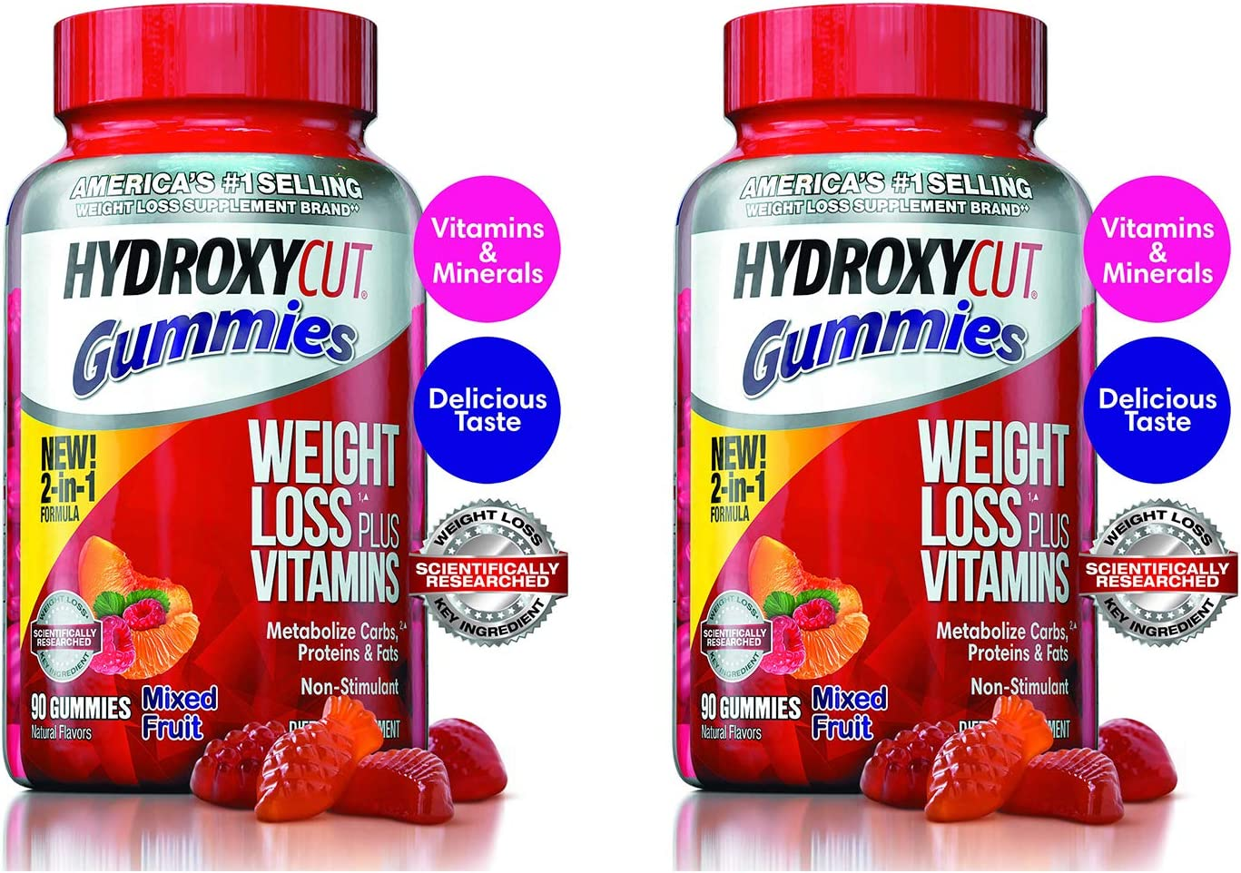 Hydroxycut Non-Stimulant Weight Loss Mixed Fruit Gummies, 90 Count - 2 Pack