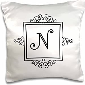 "3dRose pc_154337_1 Initial Letter N Personal Monogrammed Fancy Black and White Typography Personalized Pillow Case, 16"" x 16"""