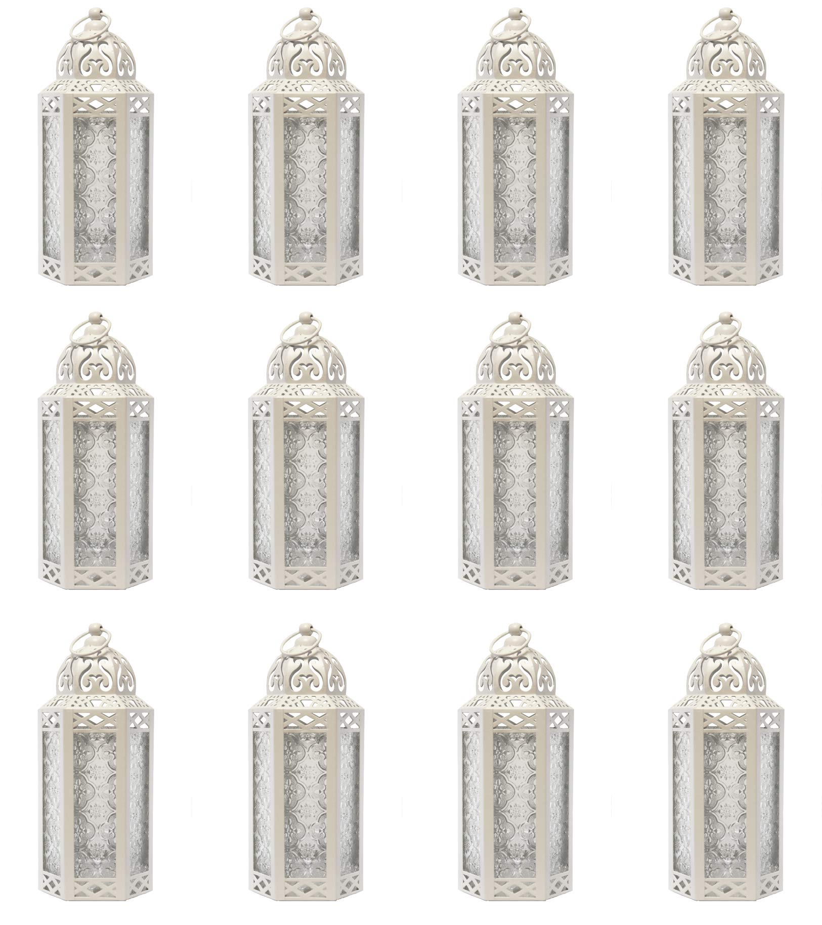 Moroccan Style Candle Lanterns in Bulk (Case of 12, White)