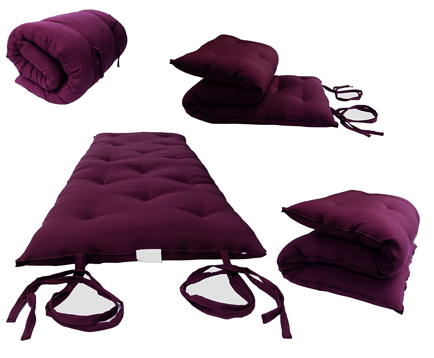 D&D Futon Furniture Brand New Queen Size Burgundy Traditional Japanese Floor Futon Mattresses, Foldable Cushion Mats, Yoga, Meditaion 60