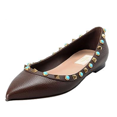 f0388f7b3 Amazon.com | Valentino Garavani Women's Rockstud Brown Ballerina Flat Shoes  US 6.5 IT 37.5 | Flats