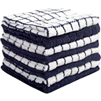 """Premium Dish Cloths Set (12""""x 12"""", 8 Pack) – Cotton Kitchen Dish Cloth Towels – Check Design – 380 GSM Highly Absorbent…"""