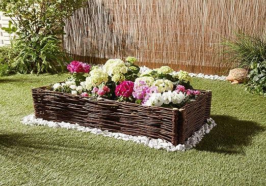 Valla de jardín, ideal para los entourages rústico, mimbre natural entremêlé de clavijas de madera: Amazon.es: Jardín