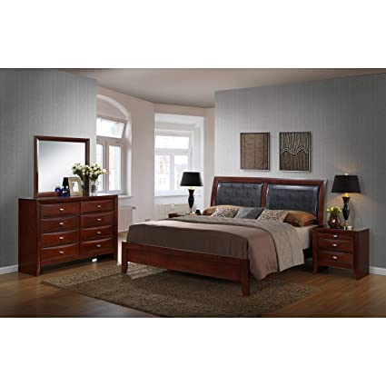 Roundhill Furniture Emily 111 Contemporary Wood Bedroom Set with Bed,  Dresser, Mirror, 2 Night Stands, Queen, Merlot