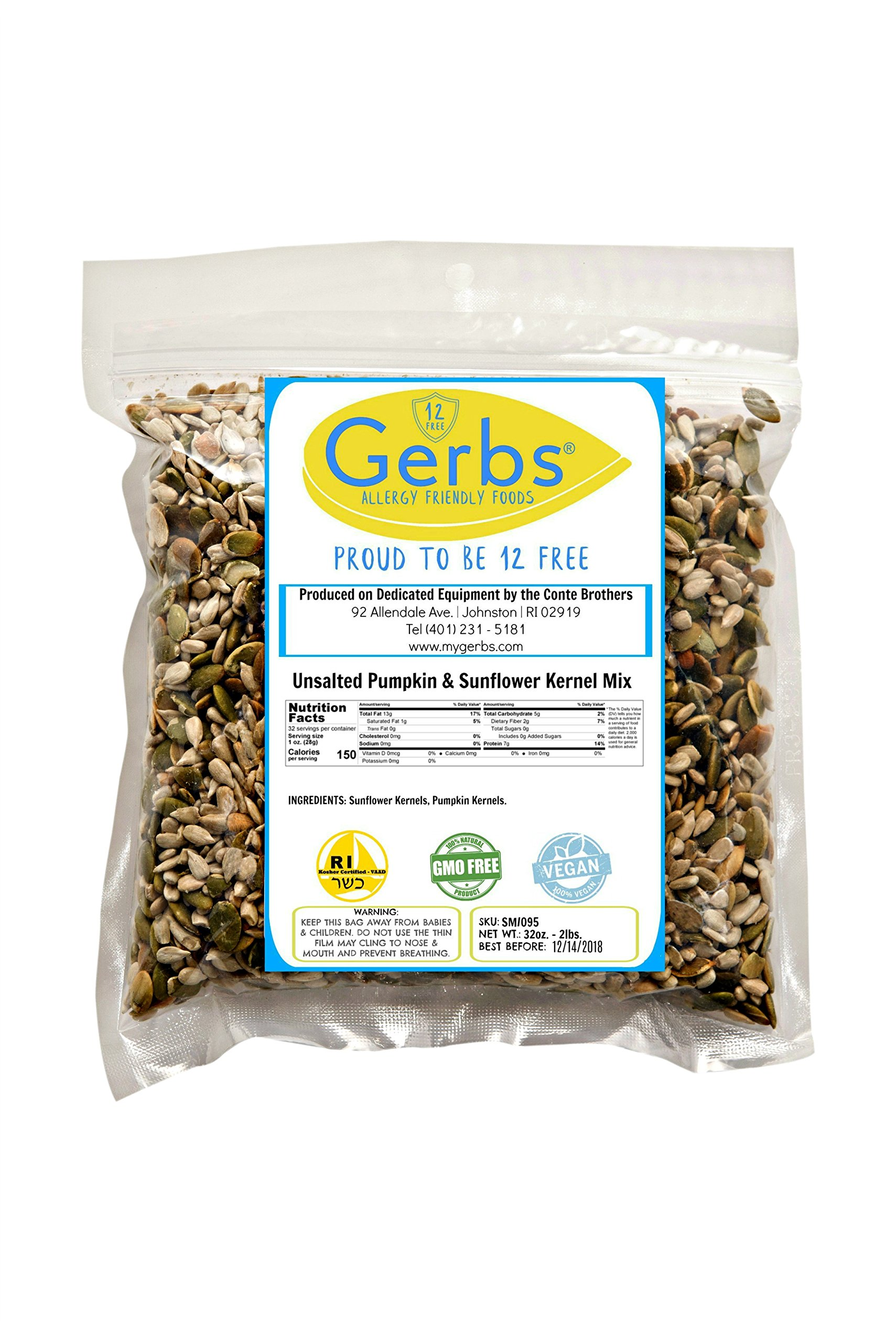 Unsalted Pumpkin & Sunflower Seed Mix, 2 LBS By Gerbs - Top 12 Food Allergy Free & NON GMO - Vegan & Kosher - Premium Dry Roasted Seeds Produced in Rhode Island