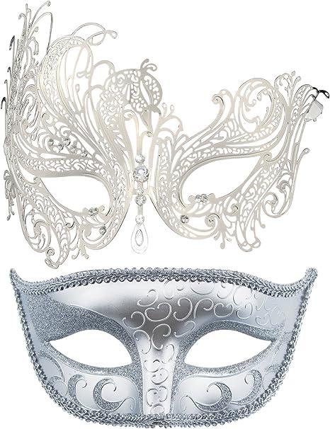 Coddsmz Pareja máscara de Disfraces Máscaras de Metal Máscara ...