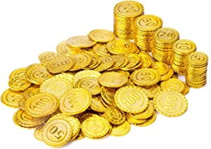 Wowok 200 PCS Plastic Gold Coins for Pretend and Play, Pirates Treasure Coins Play Money for Kids Counting, Math, Bag Stuffers, Prize, Hallowmas/ Christmas Party Favors Decoration Golden Coins