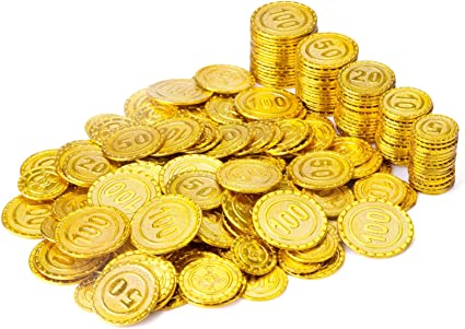 50 Plastic Pirate Gold Play Toys Coins Birthday Party Favors Pinata Money Coin