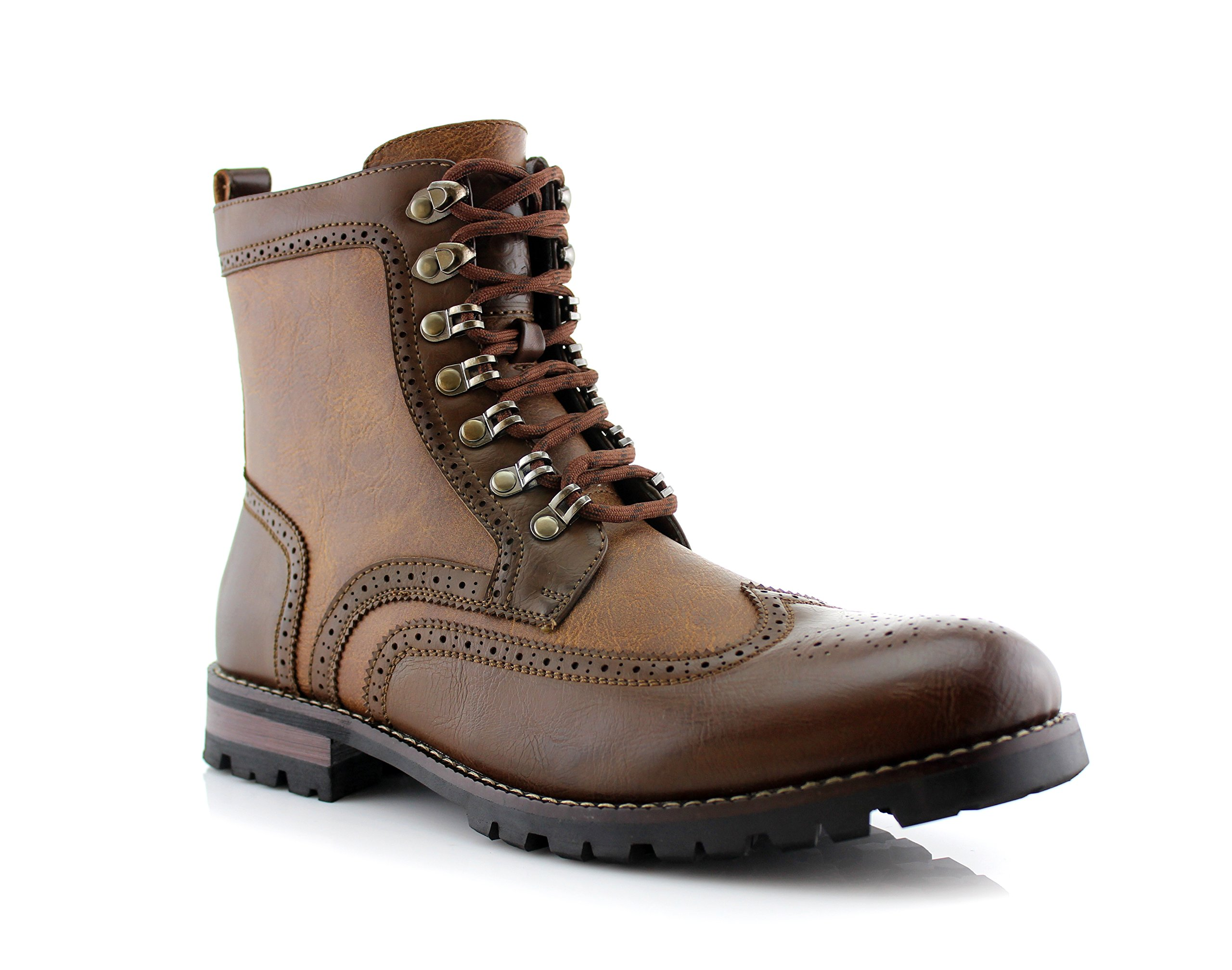 Polar Fox Cohen MPX808586 Mens Casual Wing Tip Perforated Military Combat Dress Boots - Brown, Size 8 by Polar Fox