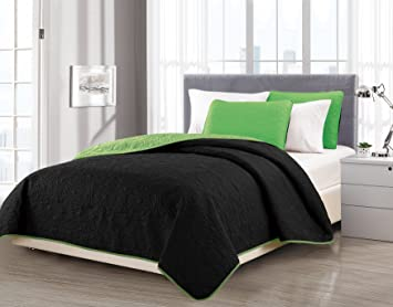 Mk Collection Solid Reversible Embossed Black/Lime Green Bedspread Coverlet  New #40 (Full