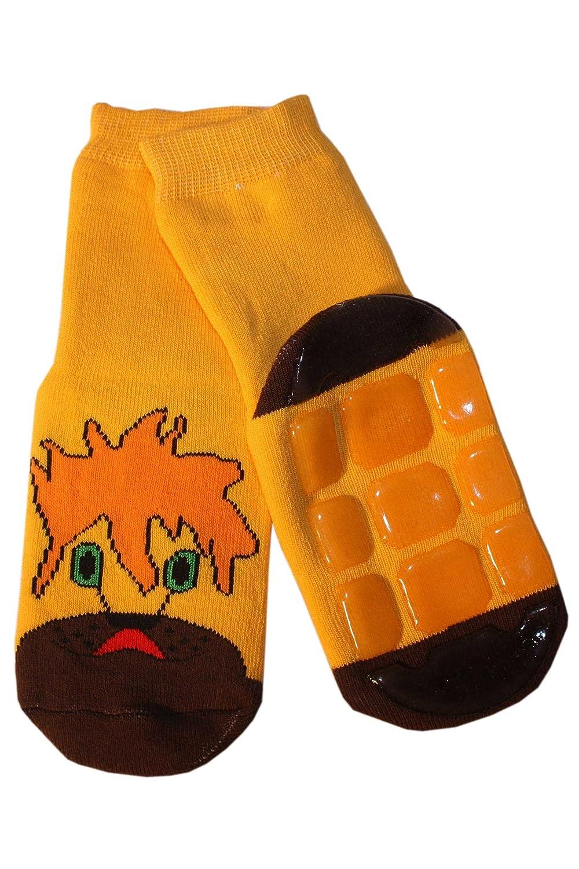 Weri Spezials Chaussettes pour Enfants en Peluche avec ABS, Couleur: Jaune,