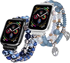V-MORO Bracelet Compatible with Apple Watch Bands 40mm/38mm Women Fashion Handmade Elastic Stretch Beads Strap Replacement for iWatch Series 4/3/2/1 38mm/40mm 2 Pack