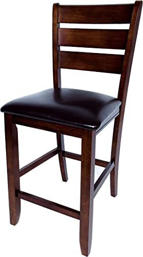 AW Furniture Set of 2 Dark Brown 24-inch Counter Height Bar Stools, Faux Leather Cushion