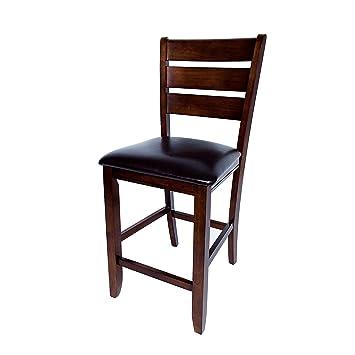 Miraculous Aw Furniture Set Of 2 Dark Brown 24 Inch Counter Height Bar Stools Faux Leather Cushion Inzonedesignstudio Interior Chair Design Inzonedesignstudiocom