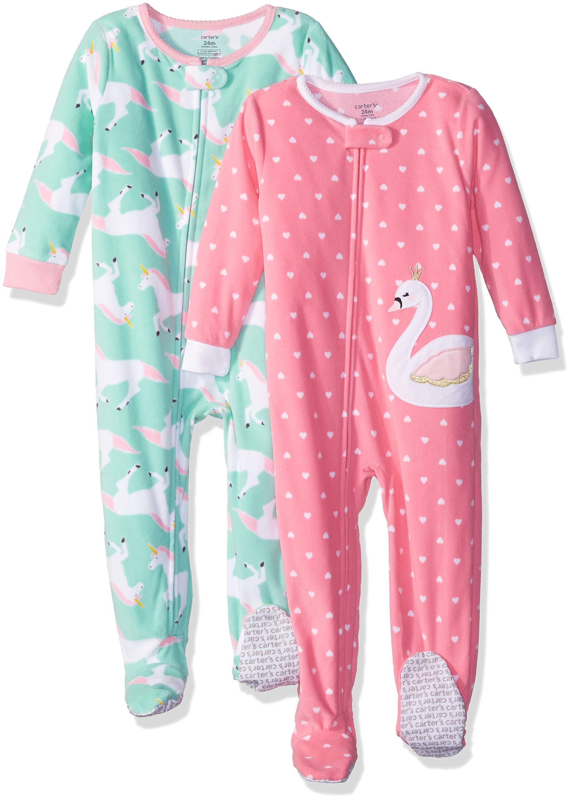 74aa1d158 Carter s Baby Girls  2-Pack Fleece Pajama Set   Blanket Sleepers ...