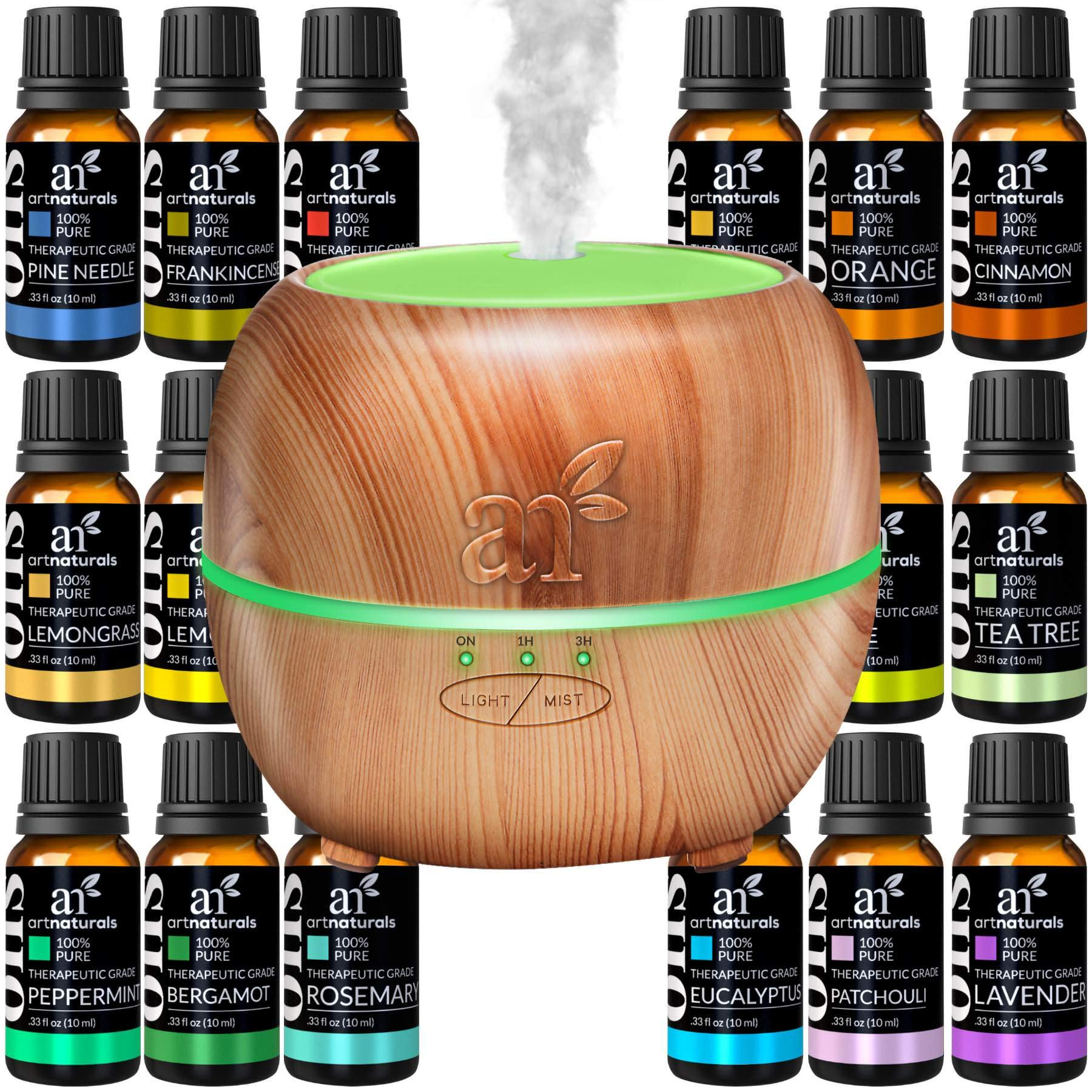 ArtNaturals Aromatherapy Essential Oil and Diffuser Gift Set - (150ml Tank & Top 16 Oils) - Peppermint, Tee Tree, Lavender & Eucalyptus - Auto Shut-Off and 7 Color LED Lights - Therapeutic Grade by ArtNaturals