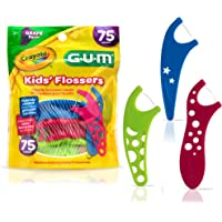 GUM-897 Crayola Kids' Flossers, Grape, Fluoride Coated, Ages 3+, 75 Count