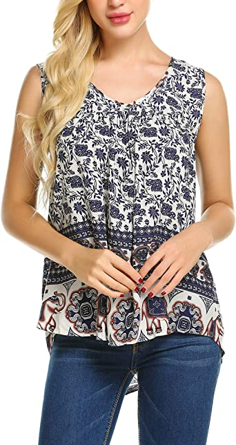 Women/'s Blouse V-Neck Casual Loose Floral Printed Tank Tops T-Shirt Plus Blouse
