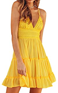 592411a0f4 ECOWISH Womens V-Neck Spaghetti Strap Bowknot Backless Sleeveless Lace Mini  Swing Skater Dress (