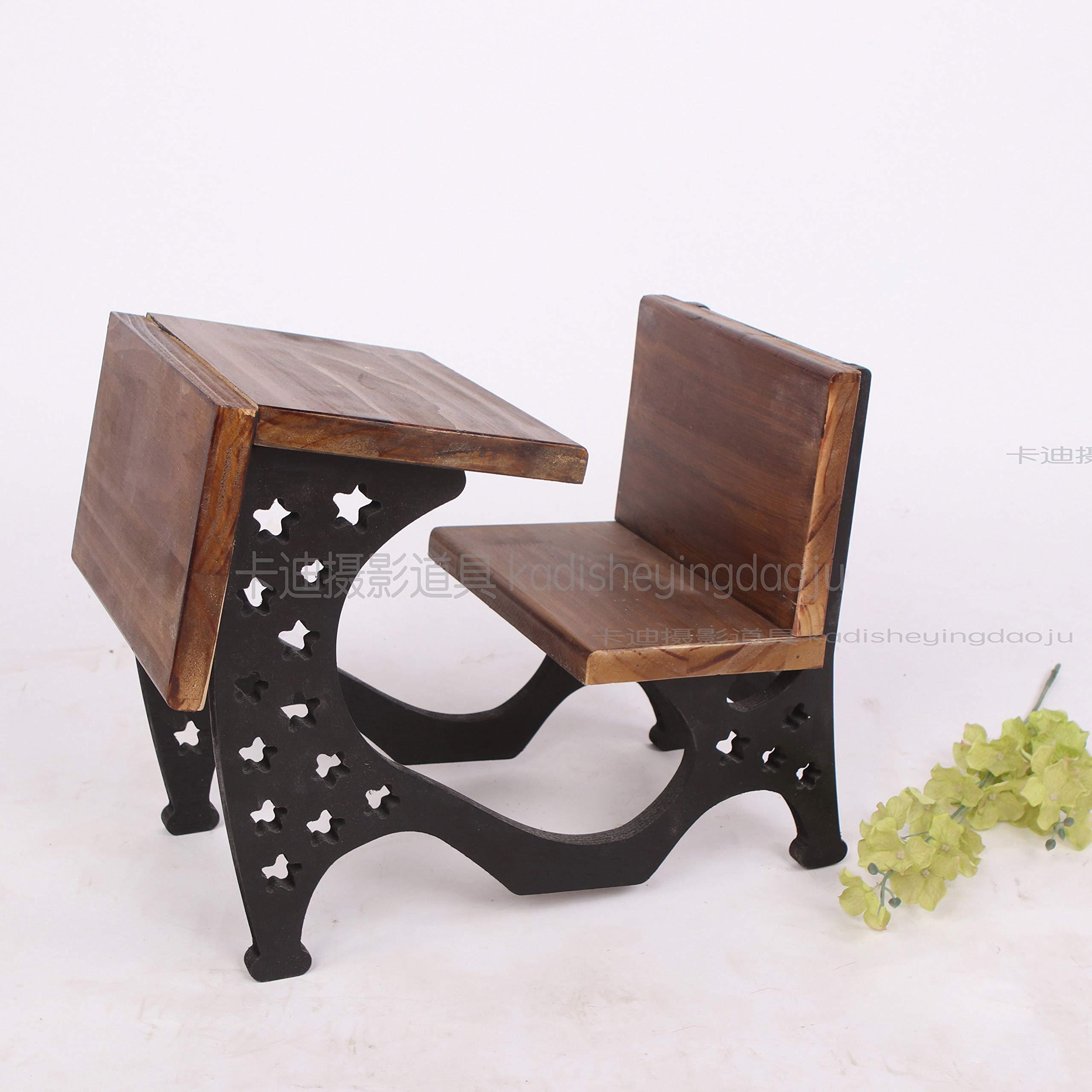Dvotinst Newborn Photography Props Baby Posing Retro Desk Chair Cute Mini Wooden Fotografia Accessorio Studio Shoot Photo Props (B)
