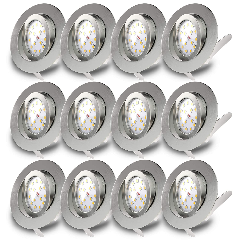 LED Einbaustrahler Schwenkbar Ultra Flach Inkl. 12 x 5W LED Modul IP23 Einbauspot Spot Deckeneinbauleuchte 12 x 400lm