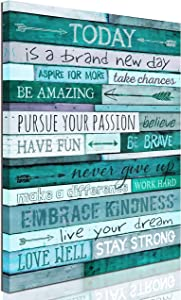 aburaeart Inspirational Wall-Art - Quotes Office Wall Decor - Teal Wall Decor for Bedroom - Word Artwork for Home Walls Size 12x16