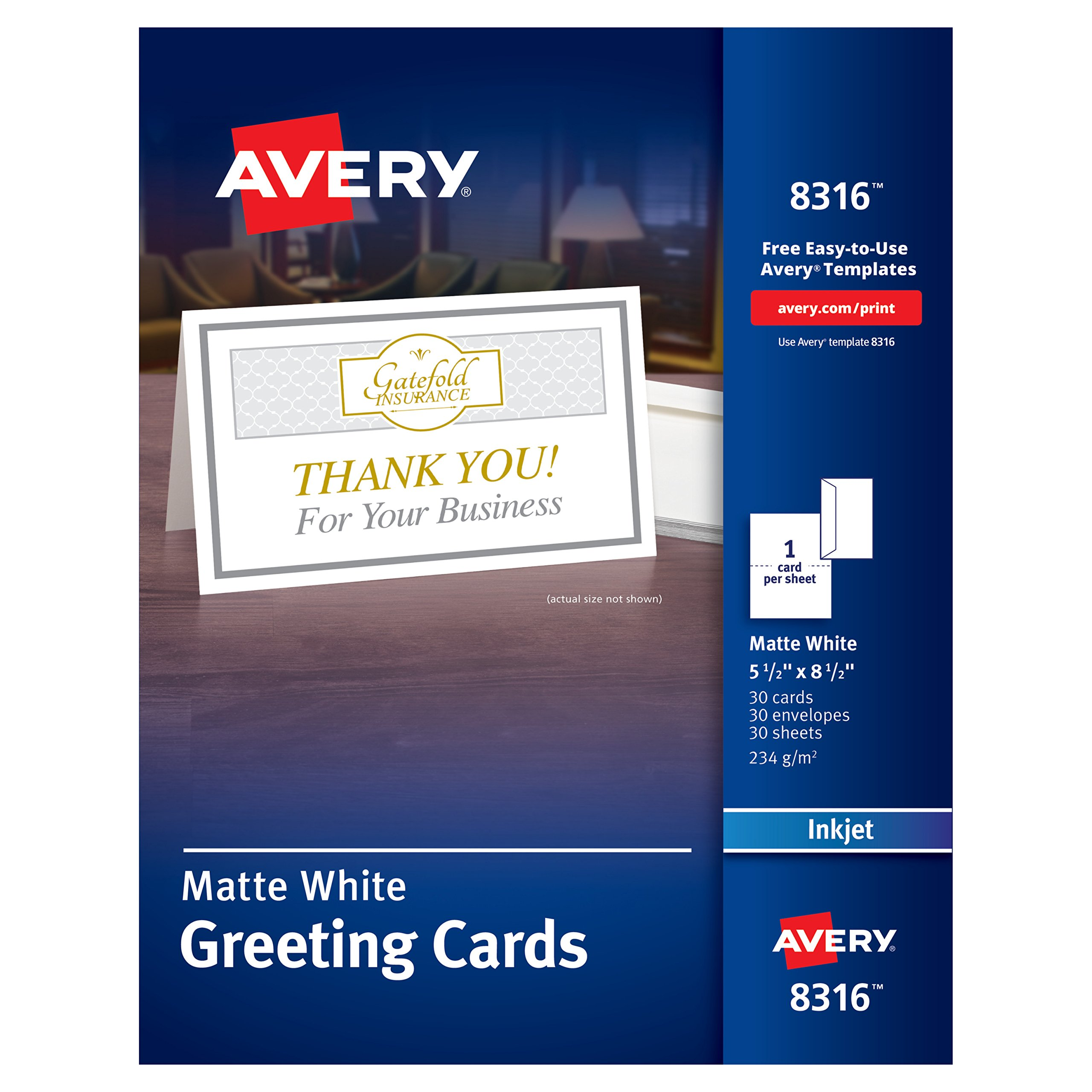 Avery Half-Fold Greeting Cards, Inkjet, 5.5 x 8.5, Matte White, Box of 30, Envelopes Included (8316) by Avery